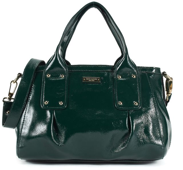 KATE SPADE Dark Green Patent Leather Gold Hardware Satchel