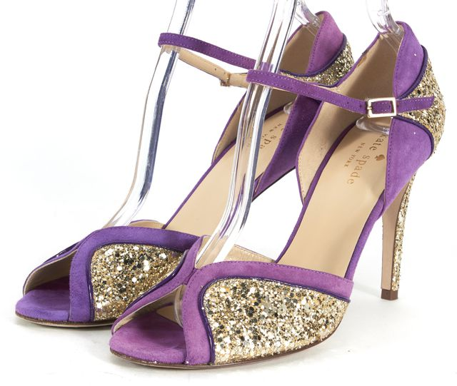 KATE SPADE Purple Gold Suede Patent Corrine Glitter Sandal Pumps