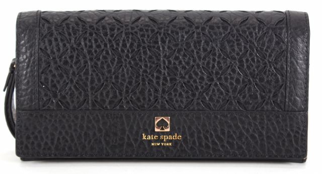 KATE SPADE Black Cut-Out Pebbled Leather Convertible Wristlet Wallet