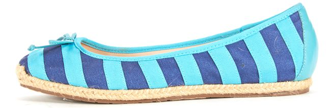 KATE SPADE Blue Striped Canvas Leather Trim Espadrille Flats