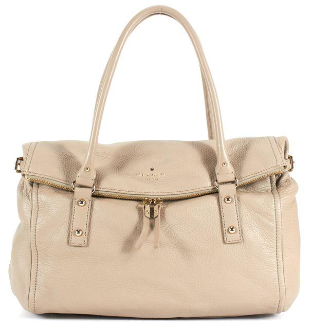 KATE SPADE Beige Pebbled Leather Fold-Over Shoulder Bag