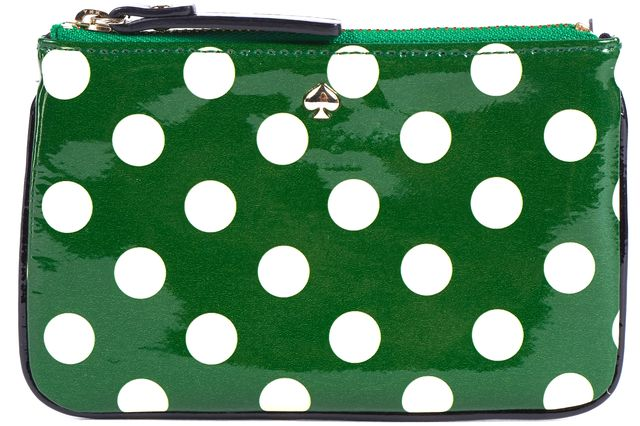 KATE SPADE Green Beige Polka Dot PVC Card Case w/ Keyring