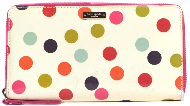 KATE SPADE Beige Pink Green Blue Polka Dot PVC Continental Wallet