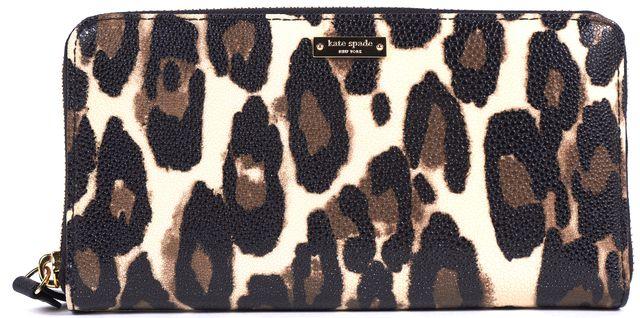 KATE SPADE Brown Black Leopard PVC Leather Trim Wallet