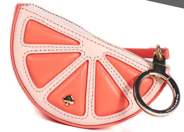 KATE SPADE Pink Leather Grapefruit Crystal Embellished Coin Purse Key Chain