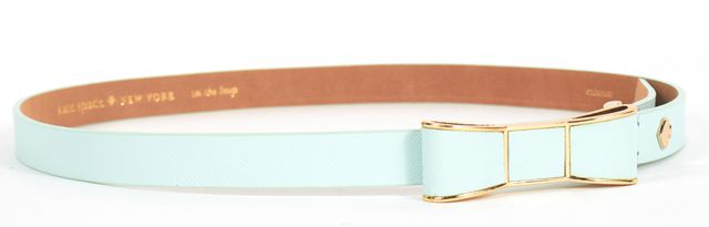 KATE SPADE Seafoam Blue Saffiano Leather Skinny Belt