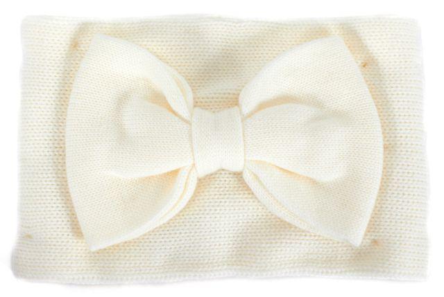 KATE SPADE White Bow Applique Scarf