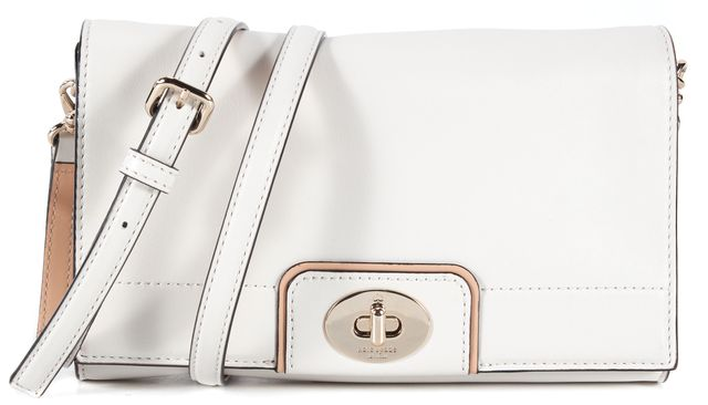 KATE SPADE White Beige Leather Adjustable Strap Crossbody