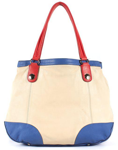 KATE SPADE Ivory Blue Red Leather Tote Shoulder Bag