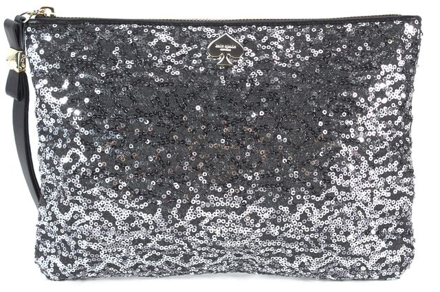 KATE SPADE Silver Sequined Embellished Clutch