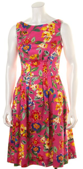 KATE SPADE Pink Blue Red Green Floral Print Fit & Flare Sleeveless Dress