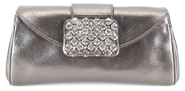KATE SPADE Dark Silver Leather Crystal Embellished Clutch