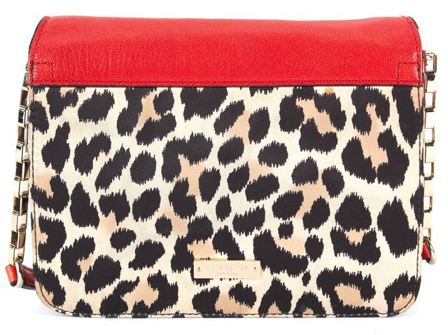 KATE SPADE Red Leather Beige Leopard Printed Satin Crossbody Bag