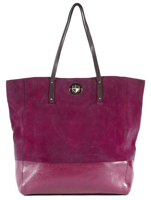 KATE SPADE Purple Brown Suede Leather Large Tote Bag