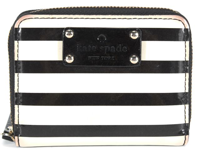 KATE SPADE White Black Striped Patent Leather Full Zip Change Purse Wallet
