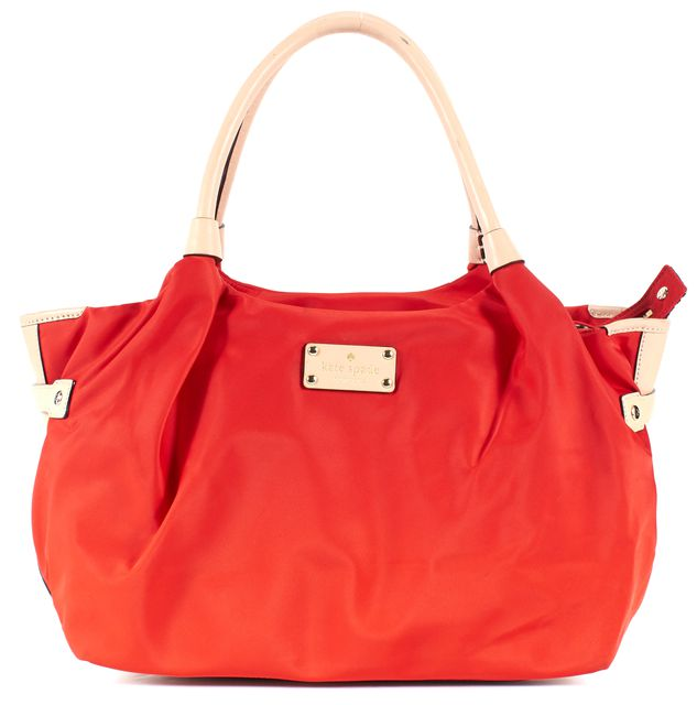 KATE SPADE Red Nylon Beige Leather Handle & Trim Tote Bag