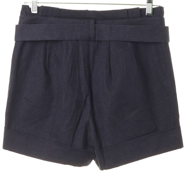 KATE SPADE Blue Stretch Cotton Pleated Paper Bag Waist Casual Shorts