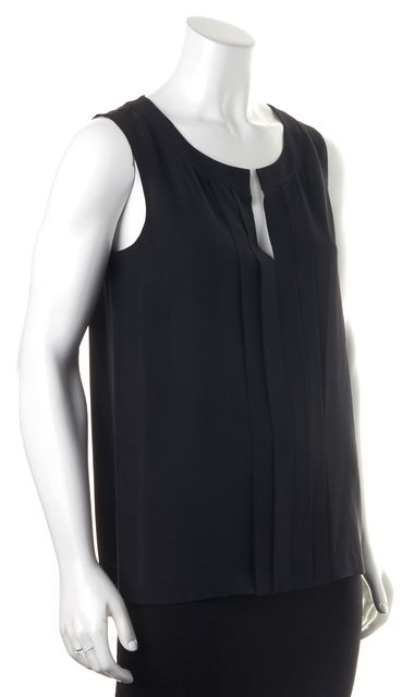 KATE SPADE Black Silk Front Pleated V-Neck Top