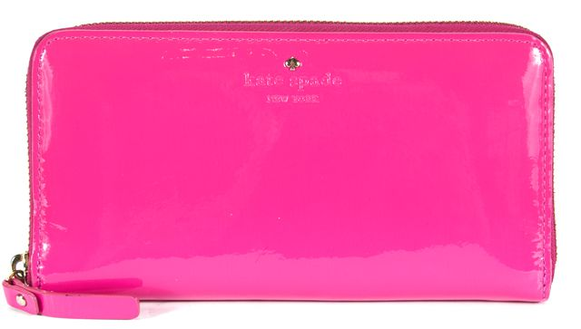 KATE SPADE Pink Patent Leather Continental Zip Wallet