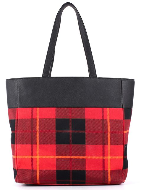 KATE SPADE Red Black Plaid Canvas Saffiano Leather Trim Tote
