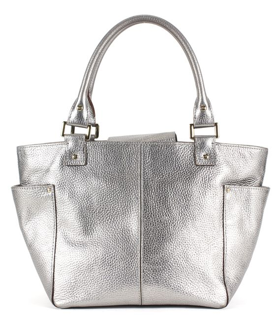 KATE SPADE Silver Pebbled Grain Leather Top Handle Tote Bag