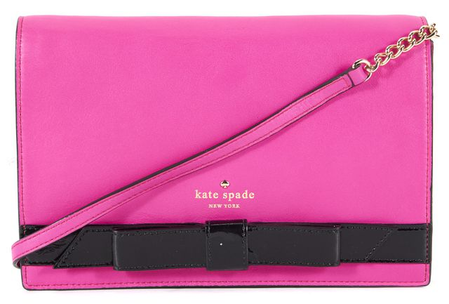 KATE SPADE Pink Leather Black Patent Bow Gold Chain Link Clutch Shoulder Bag