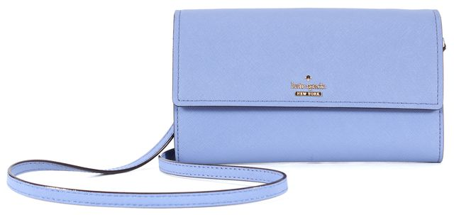 KATE SPADE Blue Textured Leather Wallet Crossbody Bag