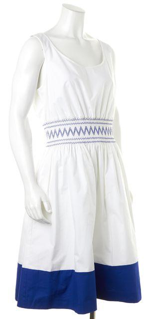 KATE SPADE White Blue Embroidered Smocked Poplin Blouson Dress
