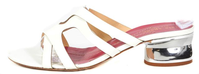 KATE SPADE White Patent Leather Silver Heels Slip On Sandals