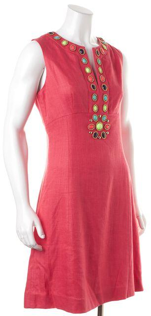 KATE SPADE Pink Jewel Embellished Sleeveless Linen Sheath Dress