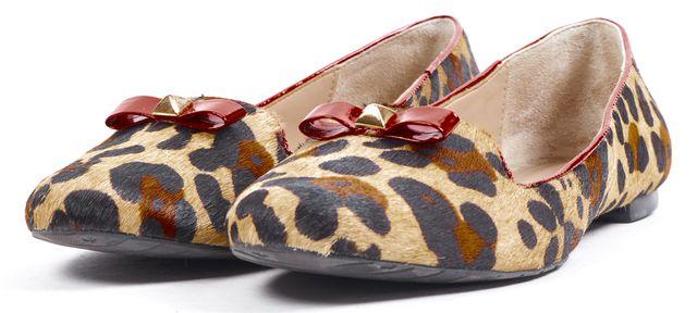 KATE SPADE Brown Beige Black Red Leopard Animal Print Calf Hair Flats