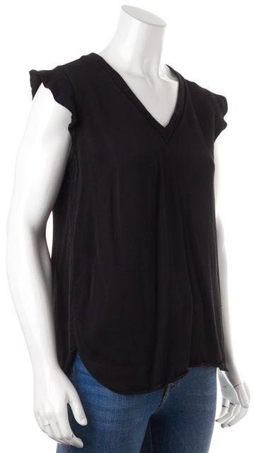 KATE SPADE Black Relaxed Fit Ruffle Cap Sleeve Blouse Top