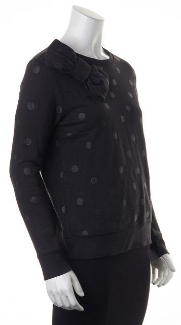KATE SPADE Black Polka Dot Bow Crewneck Sweatshirt