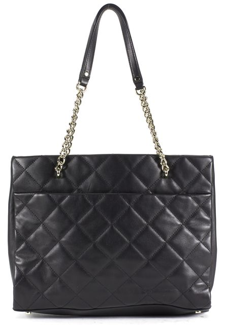 KATE SPADE Black Quilted Leather Gold Chain Strap Tote