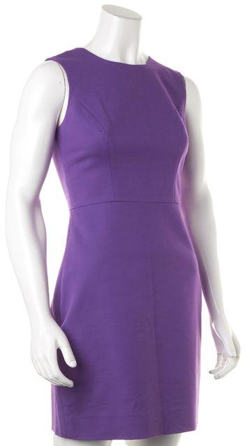 KATE SPADE Purple Sleeveless Cotton Back Zipped Sheath Dress