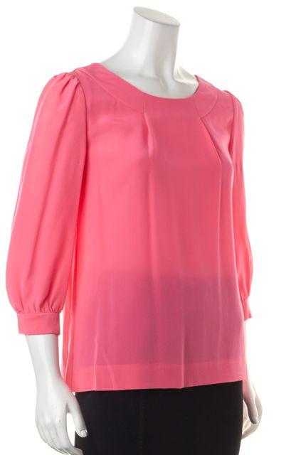 KATE SPADE Pink Silk 3/4 Sleeve Blouse Top