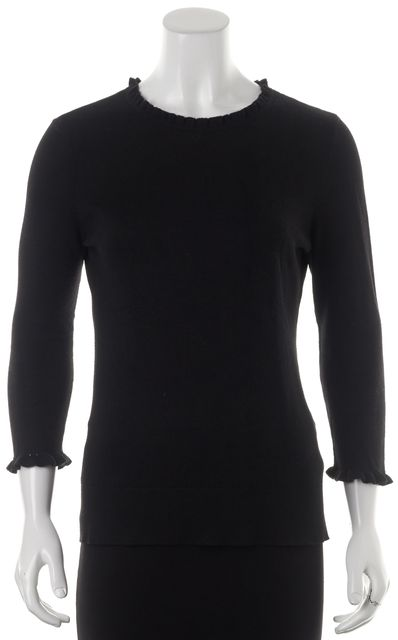 KATE SPADE Black Cotton Knit Ruffle Neck 3/4 Sleeve Fitted Top