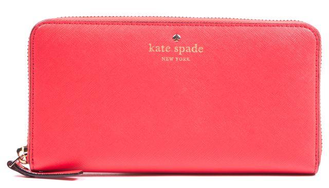 KATE SPADE Blood Orange Saffiano Leather Continental Wallet