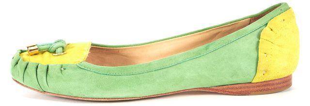 KATE SPADE Green Yellow Color Block Suede Slip-On Flats