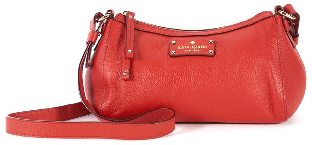 KATE SPADE Red Pebbled Leather Gold-Tone Hardware Crossbody Bag