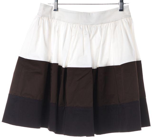KATE SPADE White Brown Black Striped Colorblock Full Skirt
