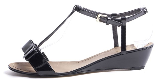 KATE SPADE Black Patent Leather Mini Wedge T-Strap Sandals 7.5M