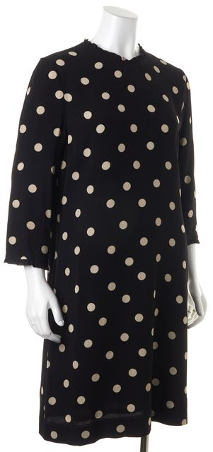 KATE SPADE Black Beige Polka Dot 3/4 Sleeve Shift Dress