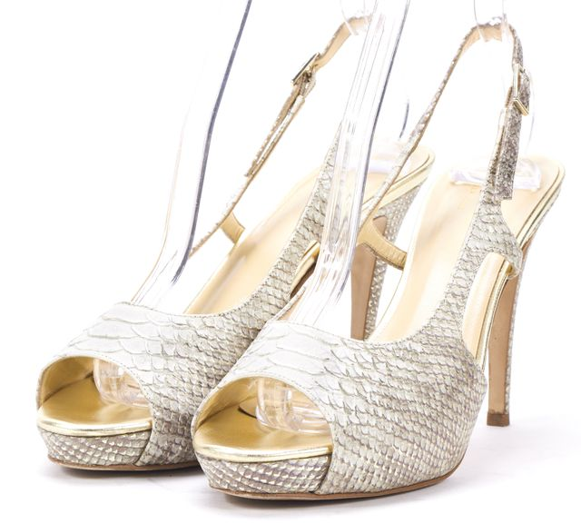KATE SPADE Beige Gold Snake Embossed Leather Slingback Sandal Heels