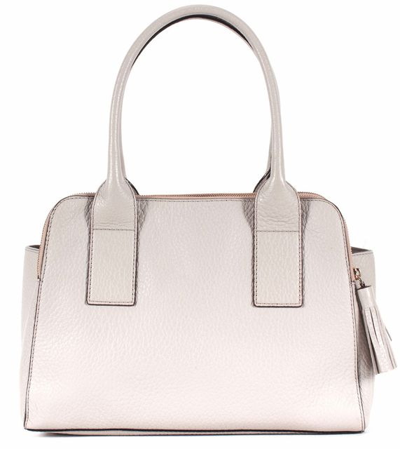 KATE SPADE Gray Pebbled Leather Tassel Trim Zippers Shoulder Bag