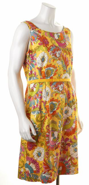 KATE SPADE Yellow Pink Blue Floral Sleeveless Sheath Dress