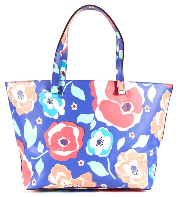 KATE SPADE Blue Floral Genuine Leather Tote