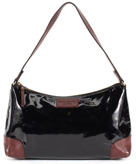 KATE SPADE Black Burgundy Genuine Leather Shoulder Bag