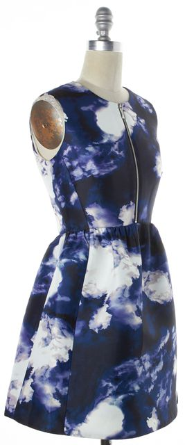 KATE SPADE Blue White Navy Abstract Watercolor Fit & Flare Dress