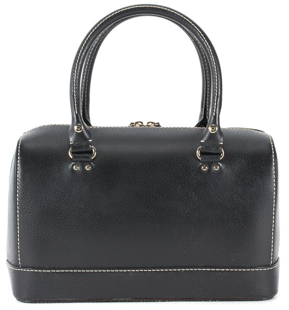 KATE SPADE Black Textured Leather Contrast Stitch Top Handle Bowling Bag